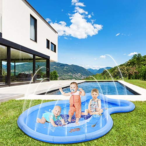 Juguete para Niños Splash Pad, Water Spray Mat Sprinkler Pad, Inflatable Water Spray Mat Tapete De Juegos De Agua para Actividades Familiares Aire Libre/Fiesta/Playa/Jardín 180 X 136 Cm