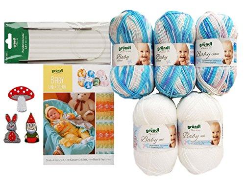 5X 50 Gramm Gründl Baby Uni/Color Wolle SB Pack inkl. Strick-Anleitung für Ein Kapuzenjäckchen, Eine Hose & Fäustlinge, Rundstricknadel und 1 Bügelflickmotiv (06 Türkis Mix)