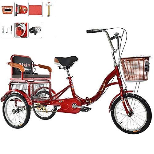 Dreirad Erwachsenes 3-Rad-Fahrrad mit menschlichem Antrieb Einkettiger faltbarer Old-Man-Roller mit Rücksitzkorb und Pedal-Tandem-Fahrrad Nehmen Sie Kinder mit 16 Zoll und 20 Zoll auf und lassen Sie