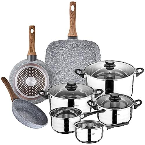 San Ignacio Bateria de cocina 8 piezas en acero inoxidable, con juego de sartenes (18 y 20 cm) con asador 28x28 cm en aluminio forjado, inducción, PK3153
