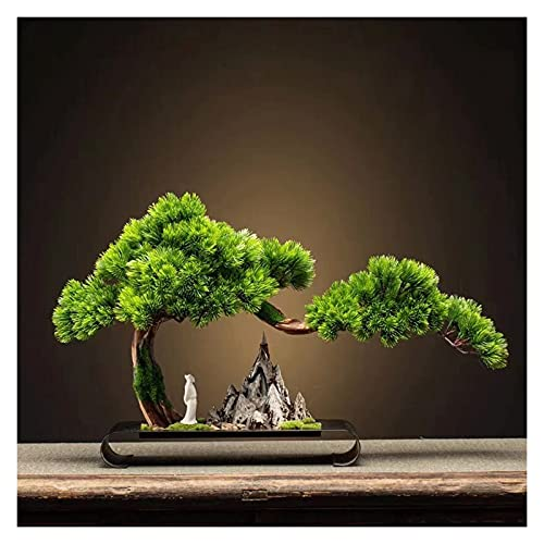 HAKLAKY Simulation Potted Plant Artificial Plant Welcoming Pine Bonsai, 17 Inches High Green Fake Potted Plants, for The Faux Tree Next to The Living Room TV Cabinet Artificial Plant Decoration