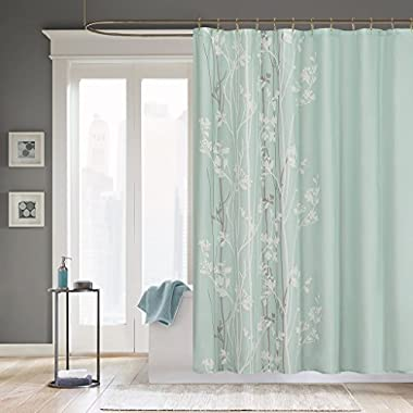 Madison Park Athena Design Flora Modern Shower Curtain, Contemporary Shower Curtains for Bathroom, 72 X 72, Surf Spray