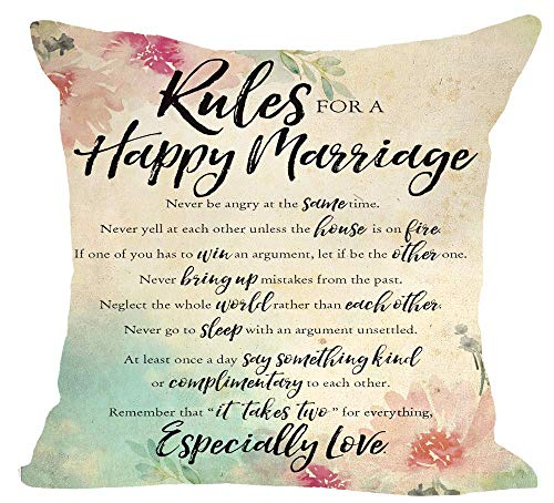Funda de cojín decorativa de lino y algodón con cintura cuadrada de Rules for A Happy Marriage Never Yell at each Other Unless The House is On Fire para sofá de 45,7 x 45,7 cm