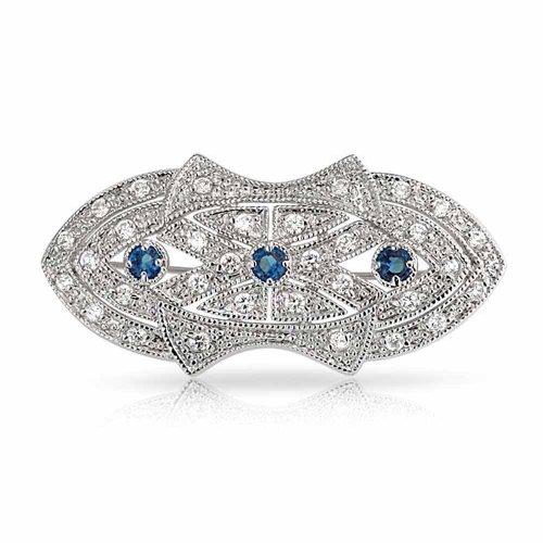 Bling Jewelry Art Déco-Stil Schal Broschen & Anstecknadeln Für Damen Blau Klar CZ Simulierten Saphir Messing