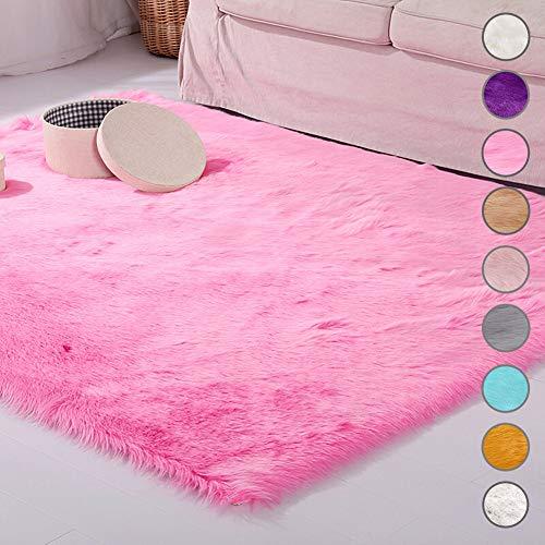 SODKK Tappeto A Pelo Lungo Rosa Scuro Faux Tappetto di Pelle 160x170cm, Antiscivolo, a Pelo Lungo per Salotto, Camera da Letto, corridoio, Cucina