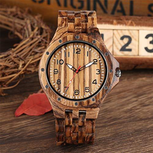 RWJFH Reloj de Madera Reloj Steampunk de Madera para Hombre, Brazalete de Madera Natural, Reloj para Hombre, Reloj con Remache Fresco, números, Relojes, Regalos, Solo Reloj