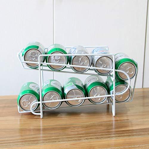 SASKATE Estante de almacenamiento para latas, organizador de latas de doble capa, soporte para refrigerador, estante para bebidas