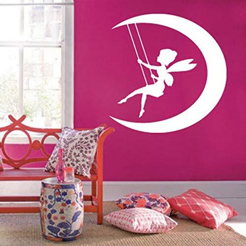 JXMN DIY customizable wall decals for girls bedroom fairytale moon swing magic cute baby room home decoration vinyl wall stickers kindergarten wallpaper 91x91cm