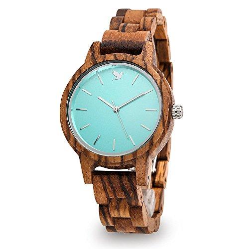 Woodstar MAKUNA - Orologio da Donna Analogico al Quarzo con Cinturino in Legno 17-003 Blu Tiffany