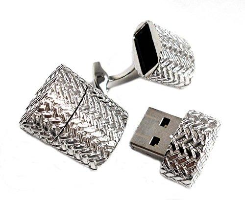 Unbekannt USB-Stick Manschettenknöpfe silbern ca. 1,8 GB Bitte beachten Sie die Maße! + exklusiver Buchgeschenkbox