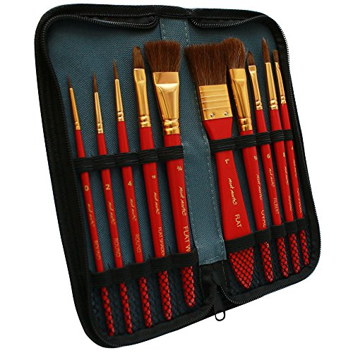 Mont Marte Art Paint Brushes Set with Case, 10 Different Size, Nice Art Gift for Kids &Artists