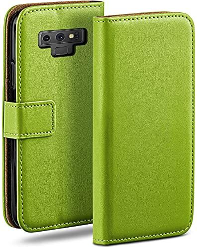 moex Klapphülle kompatibel mit Samsung Galaxy Note9 Hülle klappbar, Handyhülle mit Kartenfach, 360 Grad Flip Hülle, Vegan Leder Handytasche, Grün