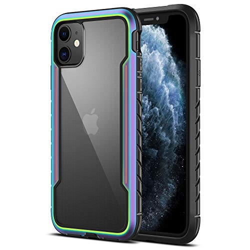 MRYUESG Shockproof iPhone 11 Case, Military-Grade Drop Protection, Clear Cases with PC Transparent Hard Back, Durable Soft TPU Bumper, Compatible with Apple iPhone 11 6.1 Inch (Iridescent+Black)