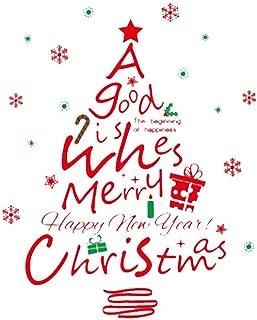 Rrunzfon Modelo de la Navidad de Windows engomadas del árbol de Navidad árbol de Navidad DIY Vinilo removible Pared de la Ventana de la Puerta Mural Sticker Decal para el escaparate Rojo