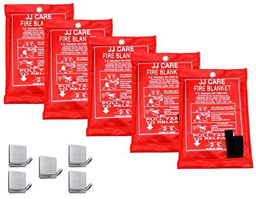 JJ CARE Fire Blanket (5 Pack) Fire Fighting Fire Safety Kit Fiberglass Cloth for Camping, Grilling, Kitchen Safety, Car and Fireplace Fire Retardant Suppression Blankets (40