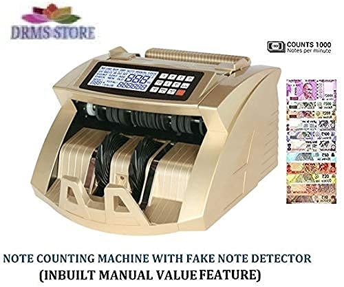 DRMS Store Heavy Duty Upgraded Note-Currency Counting Machine with Fake Note Detection Uv/Mg/Ir(for All New/Old Currency)