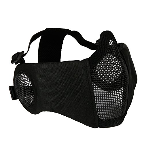 Aoutacc Foldable Airsoft Mask,Half Face Mesh Masks with Ear Protection for Cs War Game, BB...