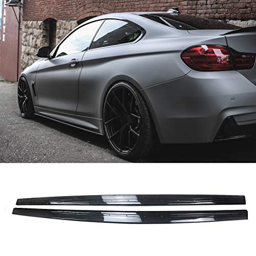 NINTE Side Skirts for 2014-2020 BMW 4 Series F32 F33 F36 | M Performance Style ABS Plastic Carbon Fiber Coating Extension Rocker Panels