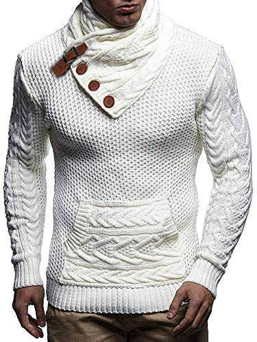 Taoliyuan Mens Turtleneck Sweater Winter Chunky Cable Knit Slim Fit Button Outwear Pullover Sweater White