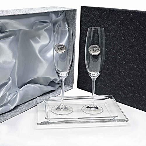 Set/Estuche de 2 Copas de champán para Novios, Bodas de Plata/Oro, Aniversarios + Bandeja de Cristal, colección Gastro-ALIANZAS, Aplique bilaminado.
