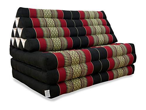 Livasia | Coussin Thaï Triangulaire Extra Large avec Matelas 3 Parties | Rembourrage 100% Kapok | 175 x 80 x 8 cm | Coussin/Matelas de Sol