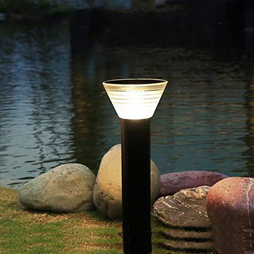 LXHK Lámpara de Trayectoria Cilíndrica Solar Foco de Columna Redonda Control Inteligente Garden Lamp Paisaje Bolardo Iluminación Negro Lámpara De Pie Aluminio y Pantalla de PC Luz De Pedestal,Negro