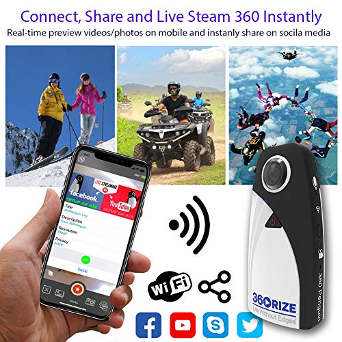 360 Camera - 360Rize 360Penguin Action cam - iPhone and Android Compatible VR Camera - 24MP and up to 4K Video - Includes All Accessories (360rize)