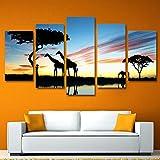 Impresiones sobre lienzo 5 PanelModerno Arte de la pared Pintura Pintura Cuadros Jirafa Elefantes Paisaje Atardecer Posters Pieza De Animales Africanos
