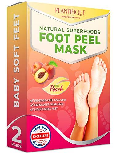 Plantifique – Mascarilla Exfoliante Pies - 2 pares para pelar los callos y durezas de pies - Elimina piel muerta y seca - Baby feet peel en 7 días, calcetines exfoliantes de pies - Foot Peeling Mask