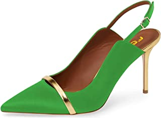 Women Classy Pointed Toe Thin High Heels Slingback Pumps Office Prom Dress Shoes Size 4-15 US