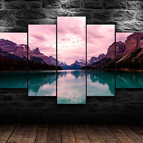 IIIUHU Immagini da Parete 5 Pezzi Quadro su Tela Scenic Paesaggio Montagna Natura Quadri Moderni Camera da Letto Adesivo Murale da Parete Quadri Grandi Dimensioni Regali di Natale con Cornice