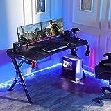 SEDETA R-förmiger Gaming Tisch, Gaming Schreibtisch, Gaming Computertischmit LED Beleuchtung, PC Gaming Gamer Tisch mit Mauspad, Getränkehalter und Kopfhörerhalter, 122 * 60 cm Schwarz - 4