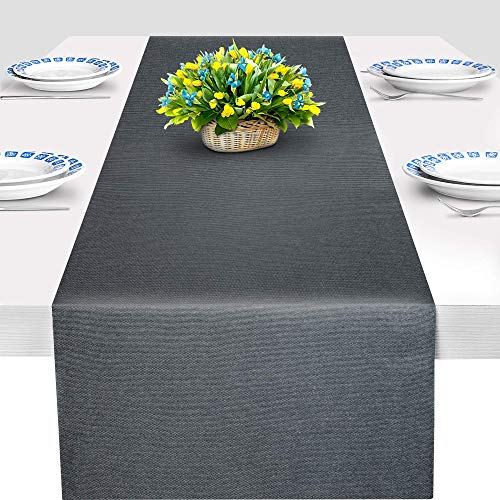 ArtanHome Dark Grey Table Runner - Double-Sided Farmhouse Table Runners for Dining Room Table Decor, Dresser Cover, Bedroom, 14 x 72 Inch, Non-Wrinkle Washable Cotton Polyester Cloth