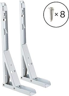 Soportes Plegables para Estantes Escuadras de Metal Soporte Triangular - 350 * 130mm Soporte de Esquina Desmontable Forma Rectángulo de Acero Inoxidable para Colgar en la Pared(2 Piezas, Blanco)