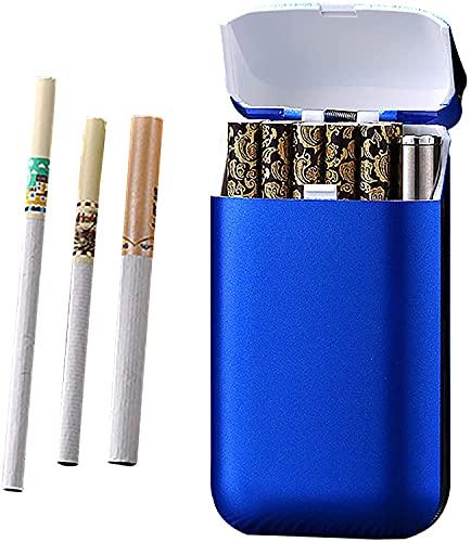 LUOWAN Pitillera con mechero, resistente al viento, encendedor creativo, cargador USB, para 10 cigarrillos, unisex, color azul