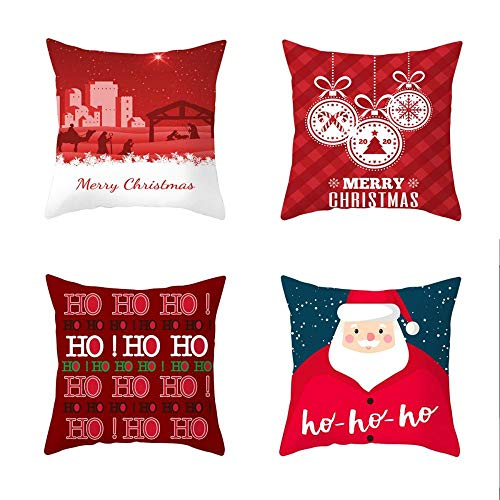 2020 New 4 Piece Set Cartoon Printed Peach skin velvet Christmas Pillowcase Office Sofa Cushion Cover 45 X 45 CM Cushion Cover-Style:9