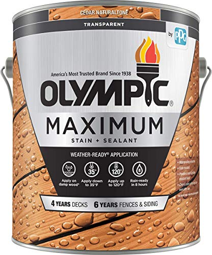 Olympic Maximum Wood Stain and Sealer, Transparent Stain,1 Gallon, Cedar Naturaltone