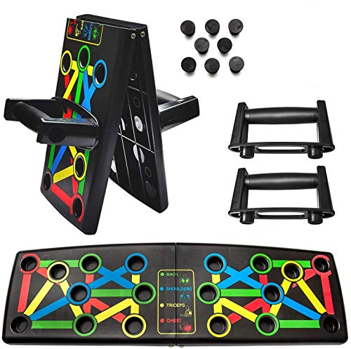 Fun Life Push Up Board 14 in 1 System Push Up Brett Portable Multifunktionales Muskeltraining System Mit Ständer Fitnessgerät Indoor und Outdoor Arm Training Faltbar & Entfaltbar