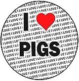 Decoración para tarta con texto 'I Love Pigs', redonda, de 20 cm