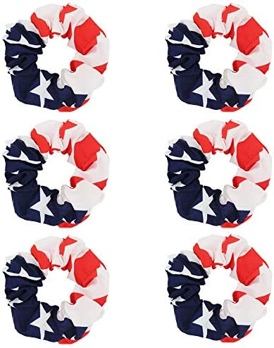 6Pcs Women Hair Scrunchies USA American Flag Union Jack Scrunchie USA Flag product image