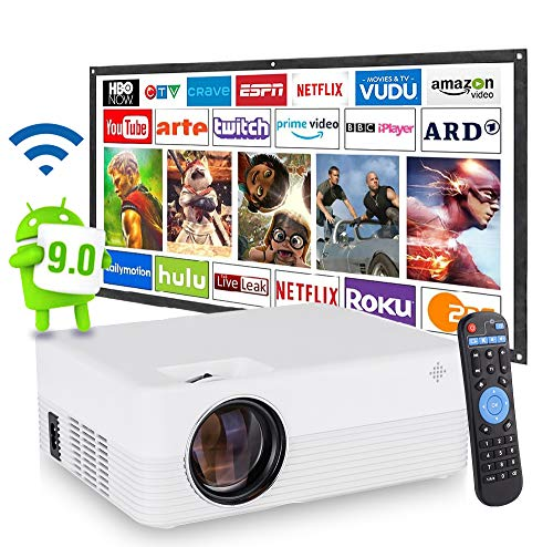 [2021 Upgrade Android WiFi Projector] 6500 Lumens LED Smart Full HD1080P Projector ± 15° 4D Keystone X / Y Zoom 6000:1 Contrast, Home Theater LED Video HD Projector with Powerful Speakers.