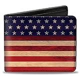 Buckle-Down PU Bifold Wallet - American Flag Stripe