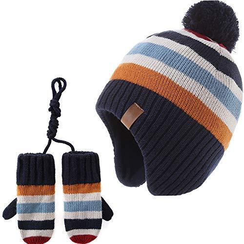 AHAHA Jungen Winter Strickmütze Pompom Mütze Handschuhe Set, Regenbogen 51CM