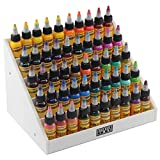 Holder Ink acrylic display stand organizer for tattoo inks, nail polish bottles and other beauty essentials that keeps them organized, secured and ready to use.