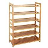 Tenozek 6-Tier Bamboo Shoe Rack Free Standing Shoe Rack Wood Color Entryway Organizer Shoe Closets(6-Tiers, Wood Color)