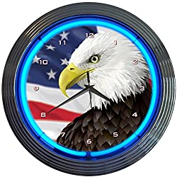 Neonetics Eagle with American Flag Neon Wall Clock, 15-Inch