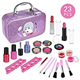 Anpro 23pcs Kit de Maquillaje Niñas,Juguetes para Chicas, Cosméticos Lavables, Regalo de Princesa para Niñas en Fiesta,Cumpleaños,Navidad