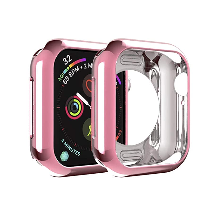 最近性能おもてなしApple Watch Series 5 44mm ケース Vikisda Apple Watch 44mm カバー TPU保護 ソフト シリコンケース 薄型 衝撃吸収 耐衝撃 柔らかい手触り ピンク
