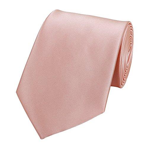 Fabio Farini - einfarbige und elegante Krawatte in 6 cm und 8 cm zur Auswahl - Lachsrosa