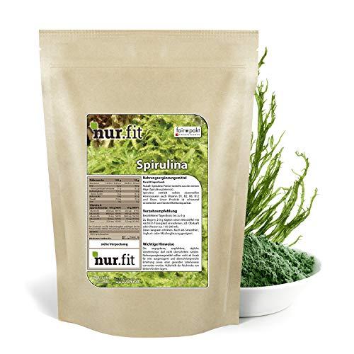nur.fit by Nurafit Spirulina Pulver 500g – rein natürliches Pulver aus Spirulina Algen ohne Zusatzstoffe – Green-Smoothie-Pulver in Rohkostqualität mit Proteinen und B-Vitaminen für Smoothies